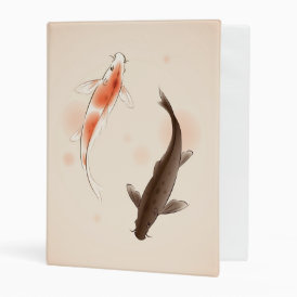 Yin Yang Koi fishes in oriental style painting Mini Binder