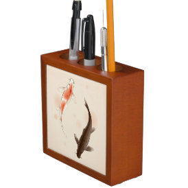 Yin Yang Koi fishes in oriental style painting Pencil Holder