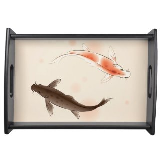 Yin Yang Koi fishes in oriental style painting Service Trays