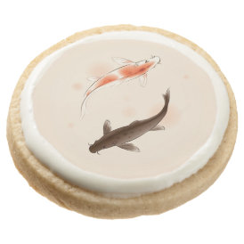 Yin Yang Koi fishes in oriental style painting Round Shortbread Cookie