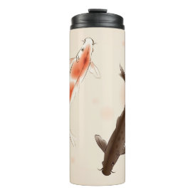 Yin Yang Koi fishes in oriental style painting Thermal Tumbler