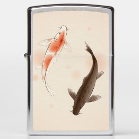 Yin Yang Koi fishes in oriental style painting Zippo Lighter