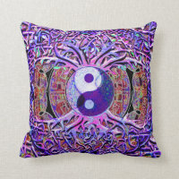 Yin Yang Tree of Life Throw Pillow