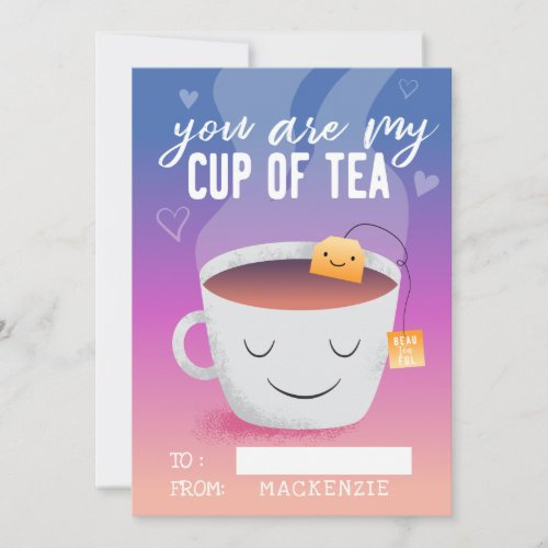 You Are My Cup Of Tea Classroom Valentines Day Holiday Card