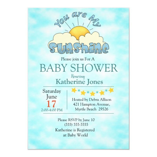 My Sunshine Baby Boy Shower Invitation