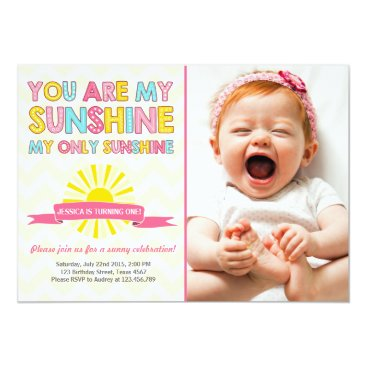 You are my sunshine birthday invitation Girl