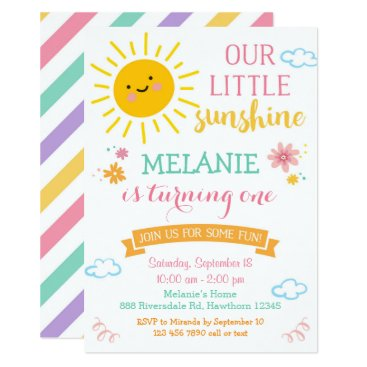 You are my sunshine birthday invitation, summer card