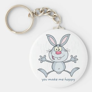 You Make Me Hoppy Bunny Rabbit Basic Round Button Keychain