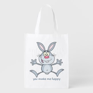 You Make Me Hoppy Bunny Rabbit Market Tote