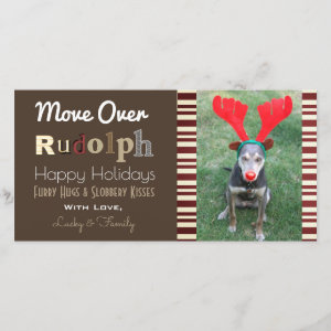 Your Dogs Christmas Reindeer w/Vertical Photo Holiday Card