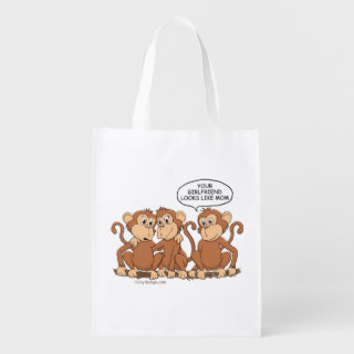 Your Girlfriend Looks Like Mom Funny Monkey Grocery Bag