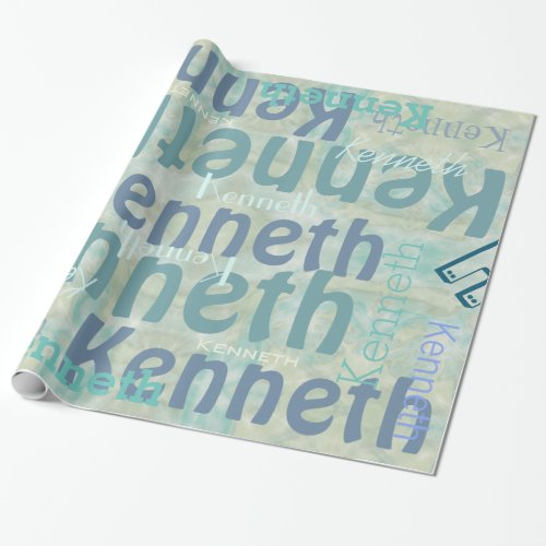 Your name on Turquoise Marble Wrapping Paper