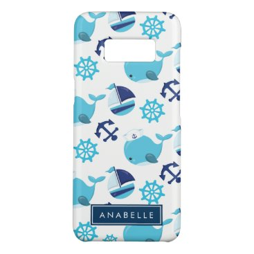 Your Name - Whale Pattern, Sailor Whales Case-Mate Samsung Galaxy S8 Case
