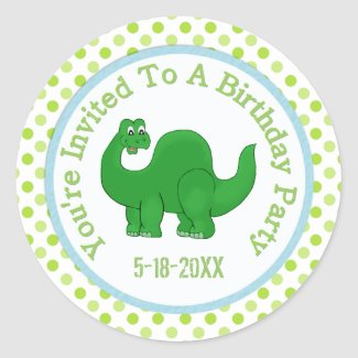 You're Invited To A Birthday Party: Dino Stickers zazzle_sticker
