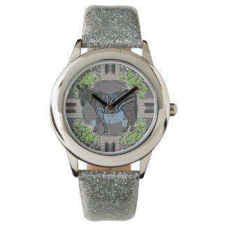 Zebra Pattern Art Silver Glitter Unisex Watch