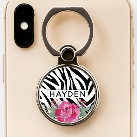 Zebra Pattern Stripes With Floral to Personalize Phone Ring Stand