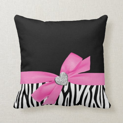 Zebra Pink Bow Diamond Heart Throw Pillow