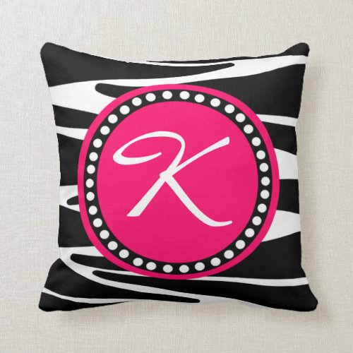 Zebra Stripes and Hot Pink Circle Initial Monogram Throw Pillow
