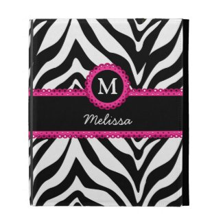 Zebra Stripes Monogram Name iPad Cases