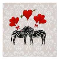 Zebras and hearts on pink damask poster