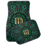 Zodiac Sign Virgo Green Mandala Car Floor Mat