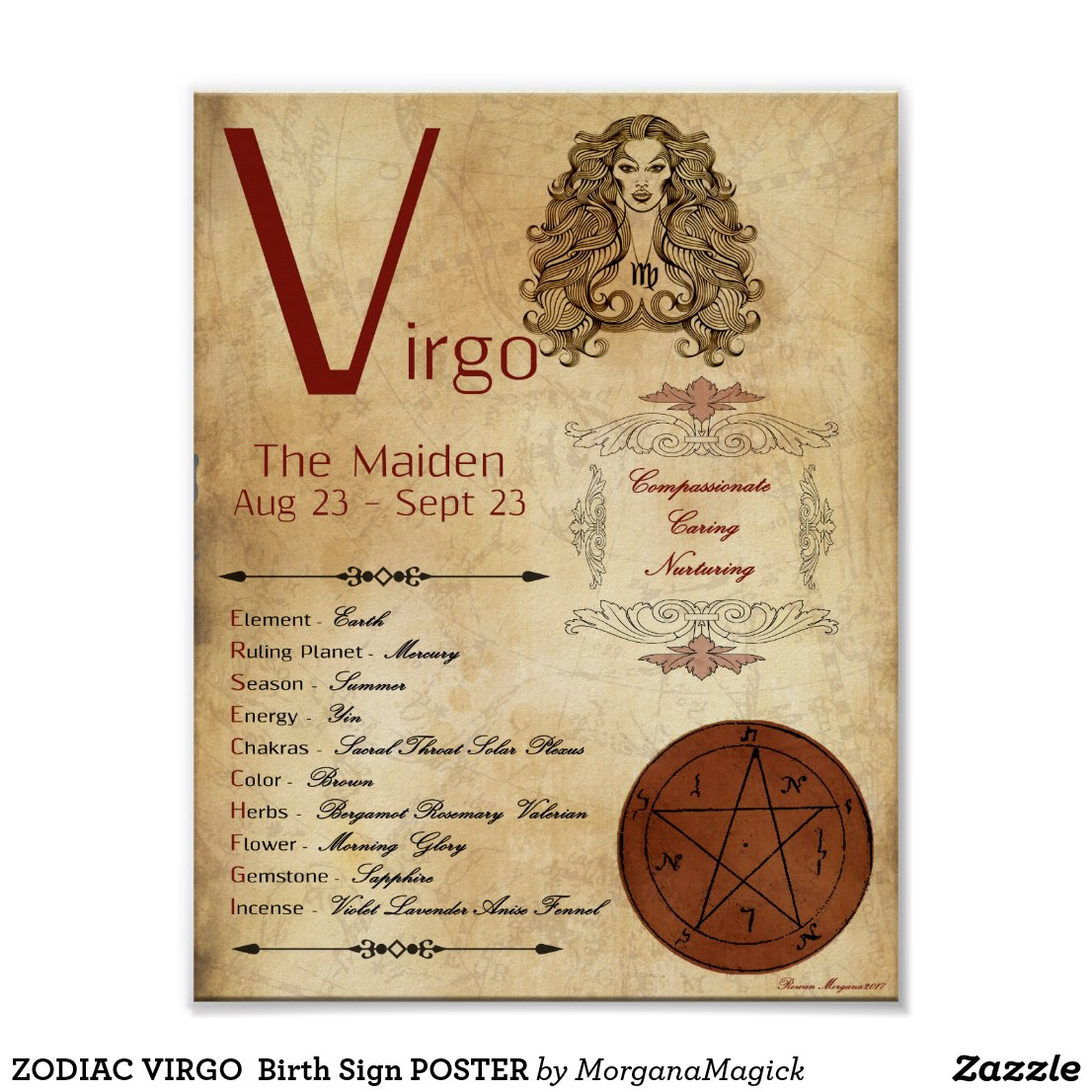 ZODIAC VIRGO  Birth Sign POSTER