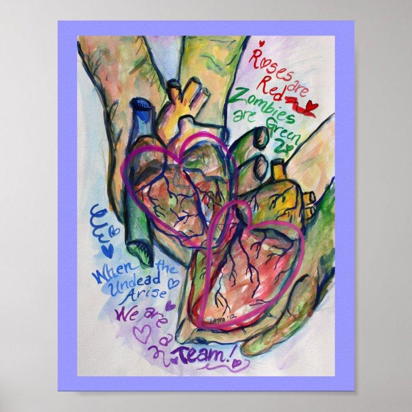Zombie Love Poem Painting Art Print Posters