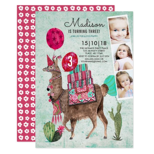 Zoo Party Birthday | Llama | Invitations