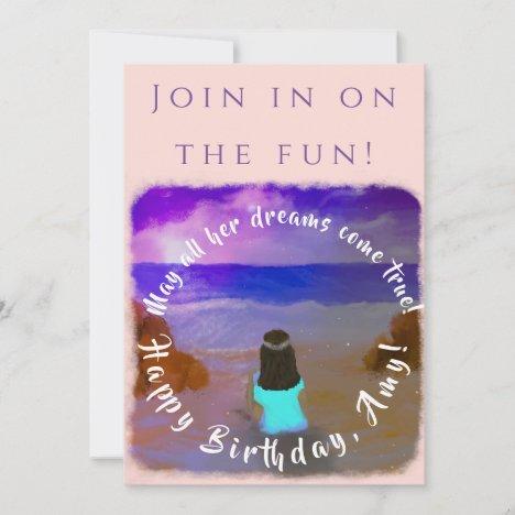 Zoom Girls Birthday Event Flat Invitation Card