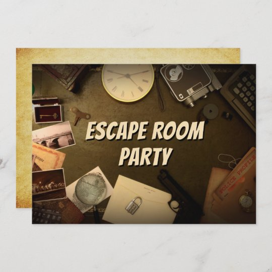 mystery game escape room party birthday invitation einladung