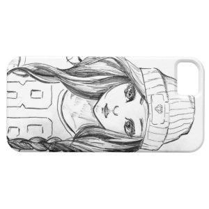 Cas mignon de téléphone de dessin de fille coques iPhone 5 Case Mate Zazzle