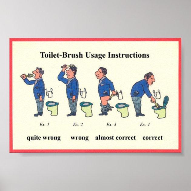 Instructions De Brosse De Toilette Poster Zazzle