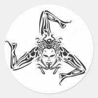 Sticker Rond Trinacria noir sur fond blanc | Zazzle.fr