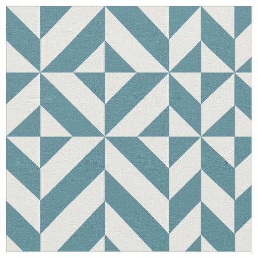 tissu motif geometrique vert turquoise de cube en deco