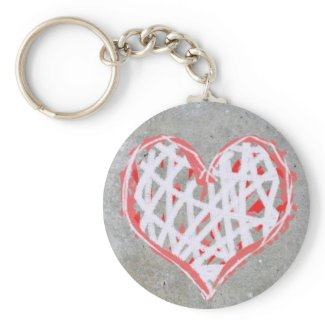 Love heart in red, white and grey zazzle_keychain