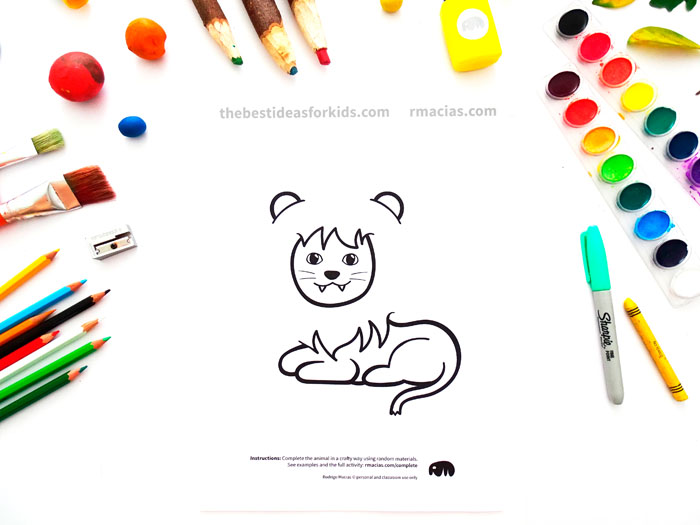 Incomplete Animals  Coloring Pages for Arts and Crafts Game