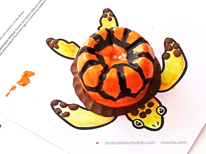 art supplies and turtle from complete the animals game fun idea for an arts and