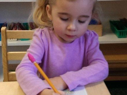 Little Girl Making Card