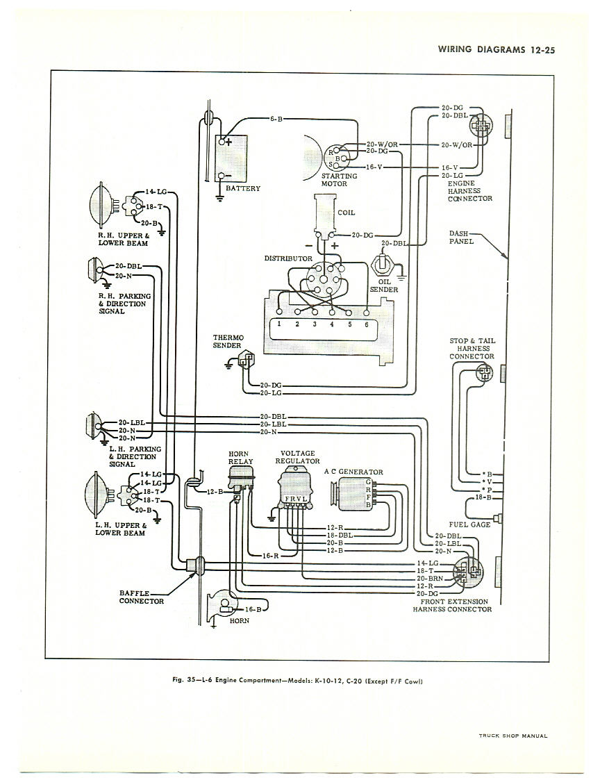 63 chevy truck wiring diagram 2016 toyota tundra radio ray s restoration site gauges in a 66 1963 engine compartment v8 with note this is for large trucks but similar to pick up