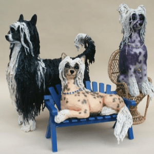 DD LaRue Sculpture Chinese Crested artwork