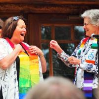 Sue Laughing with Sara Weatherman