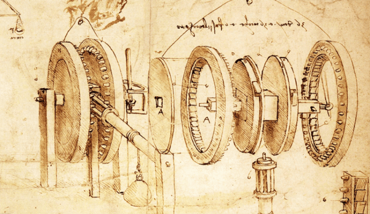 Leonardo da Vinci invention drawing - content creative producing process with R. Michael Brown, Freelance writer-producer