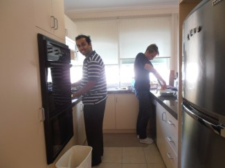 Picture of Bronte and Rohit preparing breakfast