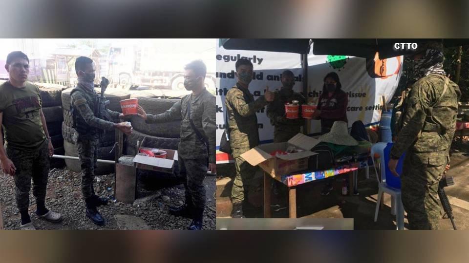 Mga sundalong nagbabantay sa mga Quarantine Checkpoints, nakatanggap ng chicken joy mula sa isang fast food restaurant sa ilang lugar sa Northern Mindanao | RMN Networks