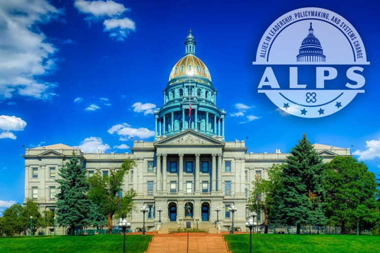 Colorado Capital building with the ALPS logo floating above it
