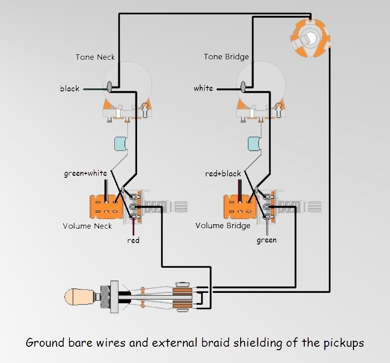 gibson les paul studio deluxe wiring diagram aprilaire humidifier rmusic ru guitars of pickups 4conductor with push pull potentiometers for splitting coils into single coil