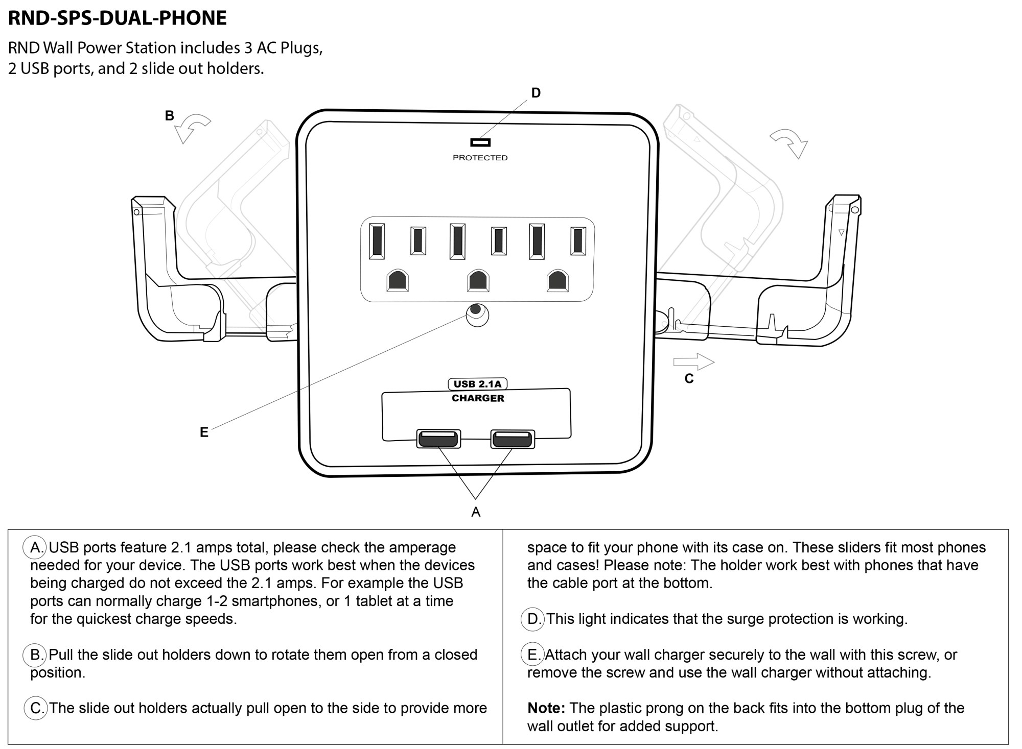 hight resolution of instruction manual for rnd wall charger rnd sps dual phone