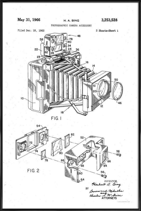 Polaroid Camera Accessory, Patent 1966 als Poster in