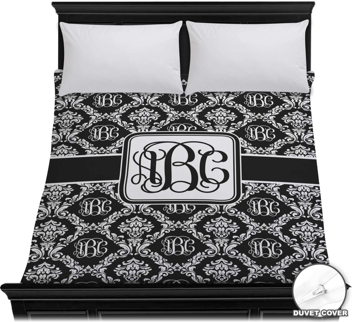 Monogrammed Damask Duvet Cover Full Queen