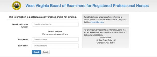 """RN License Verification WV"""